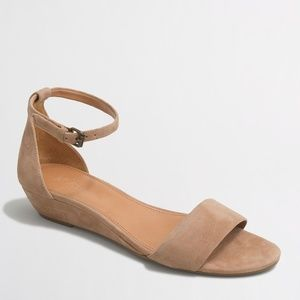 J Crew Factory Suede Demi--Wedge Sandals - 7.5